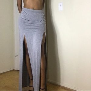 Double split maxi skirt